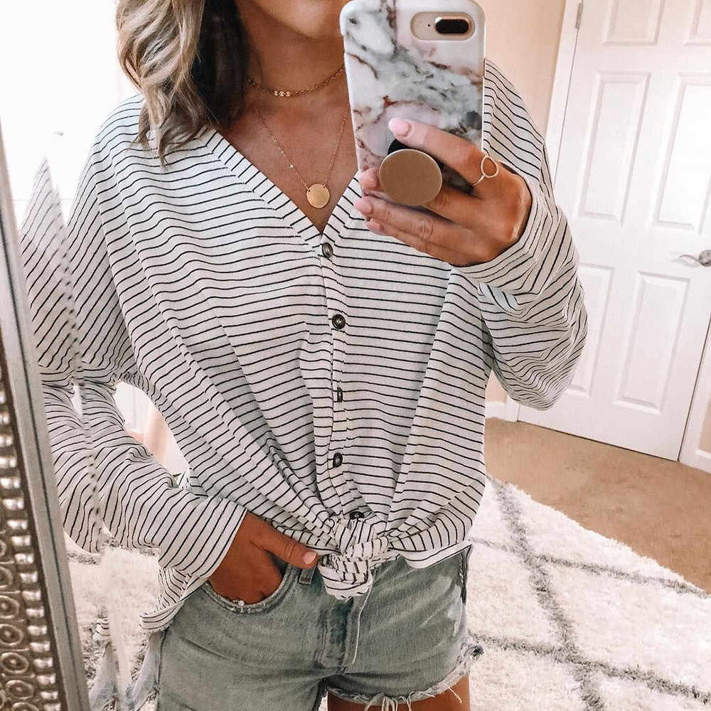 2e11294a21811c ... 2018 Black Red Striped Blouse Womens Tops And Blouses Long Sleeves  Women Blusas Mujer De Moda ...