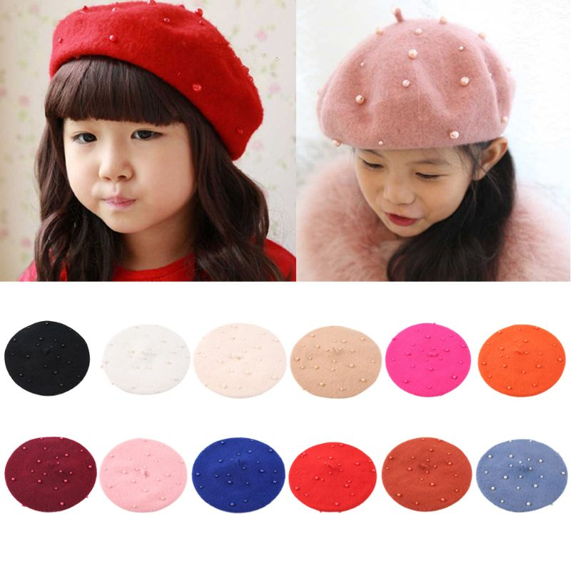 Baby Girls Boinas Boina Feminina Hipster Joker Pearl Wool Felt Beret Multicolor Painter Cute Hat For Children