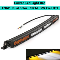 Dual Color Curved LED Light Bar 28inch 120W Off road Light Bar White Amber Yellow Spot Flood Combo Beam LED Work Diving Light