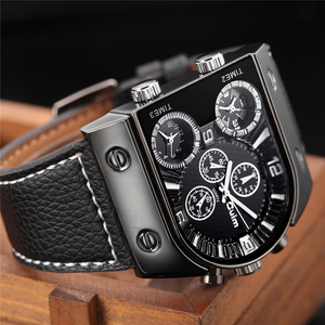 Image 2 - Oulm Mens Watches Mens Quartz Casual Leather Strap Wristwatch Sports Man Multi Time Zone Military Male Watch Clock relogios