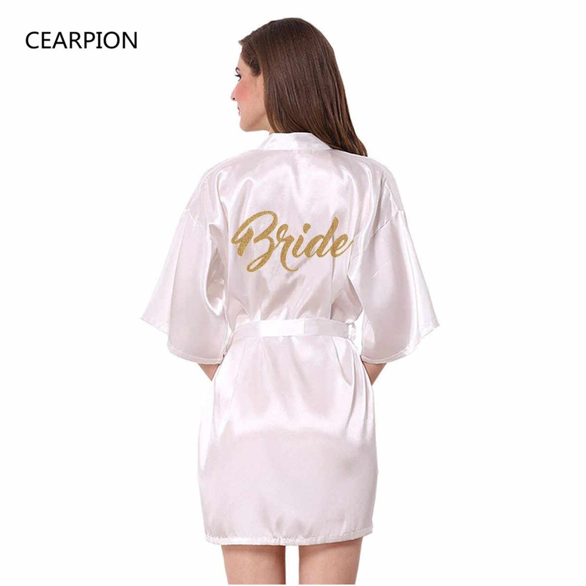 CEARPION Bride Robe Satin Sexy V-Neck Bride Spa Kimono Bathrobe Gown Bridal  Party Gifts 99fadda58b63