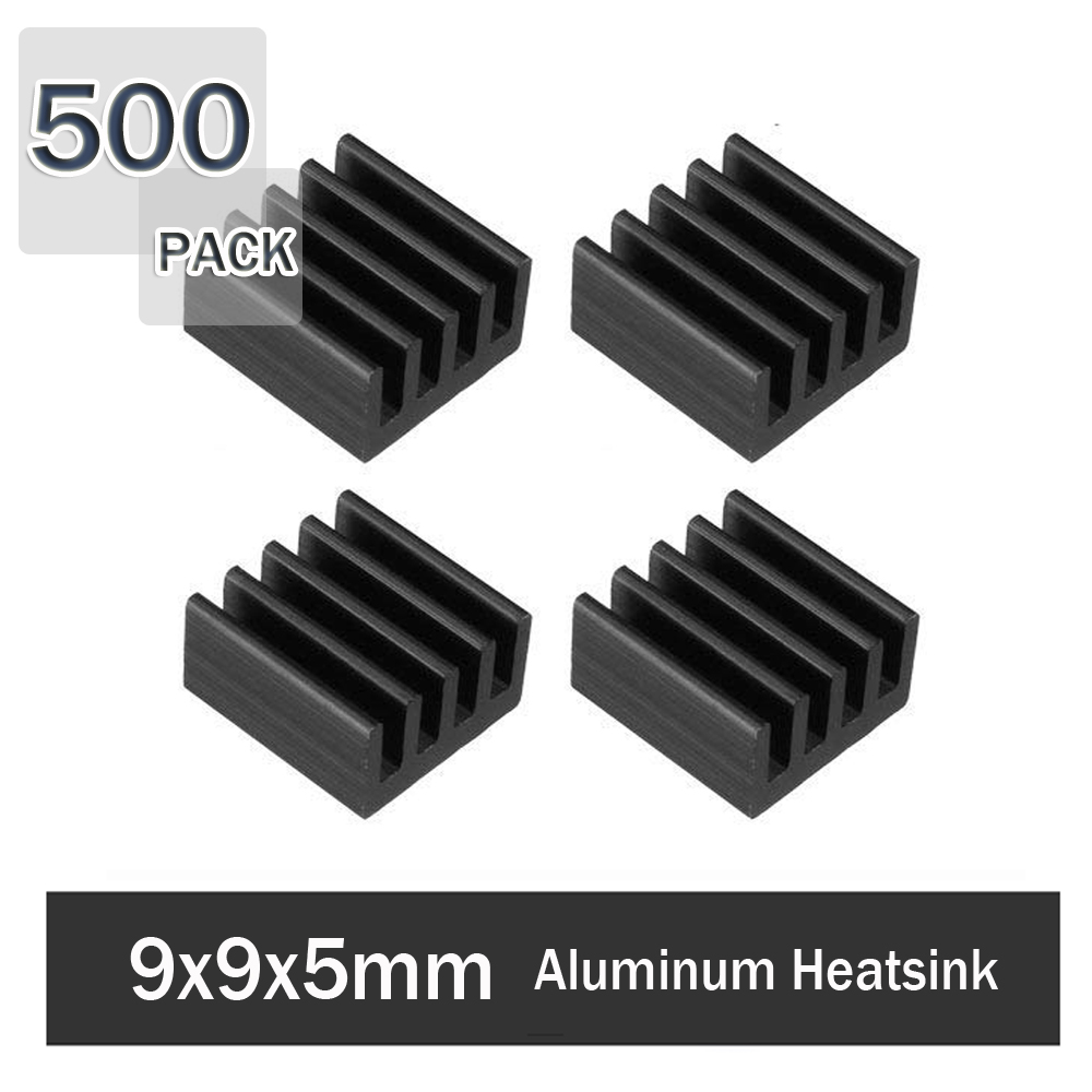 500Pcs Gdstime 9x9x5mm Aluminum Radiator Heatsink 3M Tape Heat Sink Cooler For 3D Printer Stepper Motor Driver VGA RAM LED image