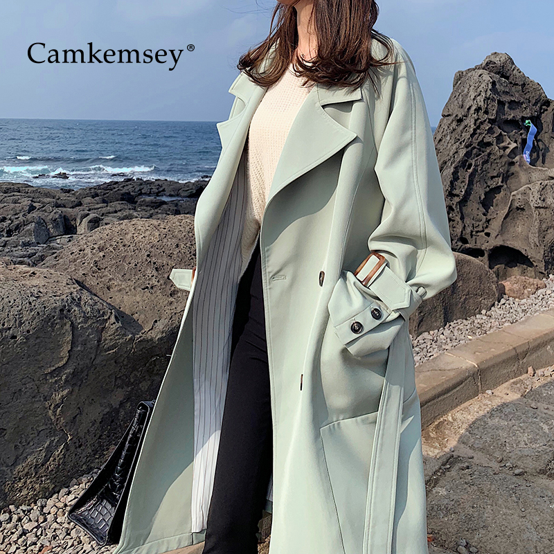 CamKemsey Autumn Winter Women Coats 2019 Korean Leisure Solid Double Breasted Casual Long   Trench   Coats Female Outwear