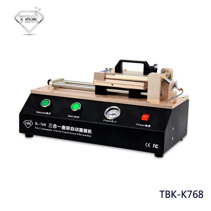 Naujausias 3 viename TBK-768 automatinis išlenktas jutiklinio ekrano OCA plėvelės laminavimo aparatas, skirtas S6 S7 Edge Plus, laminatoriui, išlenktam ekranui.