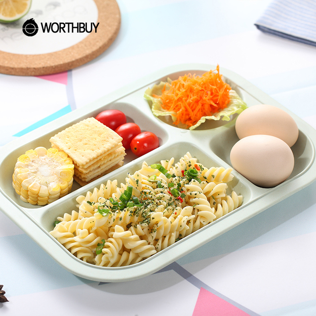 WORTHBUY Bamboo Fiber Kids Dinner Plate Eco Friendly Rectangle Snack Dish Fruits Food Container
