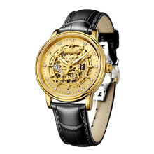 2018 Real Tourbillon Skeleton Gold Memachical Mans Watch Black Leather Saphire Dial Waterproof Japan Automatic Man Wristwatches