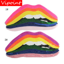 embroidery sequins rainbow mouth patches for jackets,mouth badges jeans,appliques coats A212