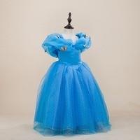 Fashion Children Design Clothing Big Girl Party Frocks V Neck Blue Custome Princess Girls Cinderella Dress