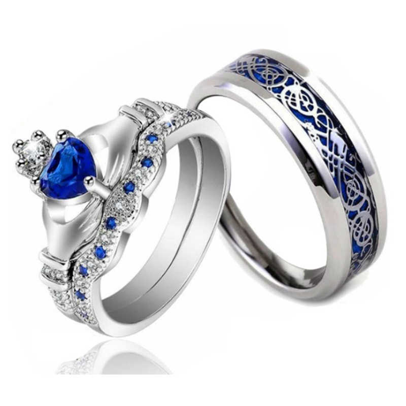 Blue Crown Couple Rings Cubic Zircon Ring Sets for Women Stainless Steel Stripe Ring Band for Men Lord of the Rings Love Gift