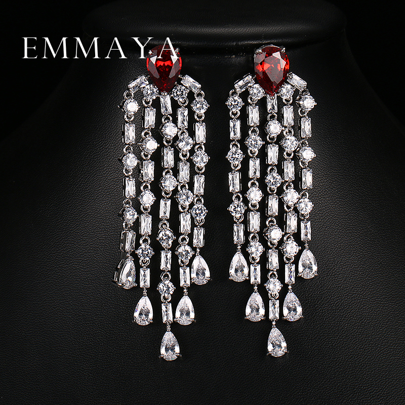 Emmaya Luxury Red Green Clear Blue Long Earrings For Women Wedding Party Drop AAA Clear Cubic Zirconia Tassel Dangle Earrings цены