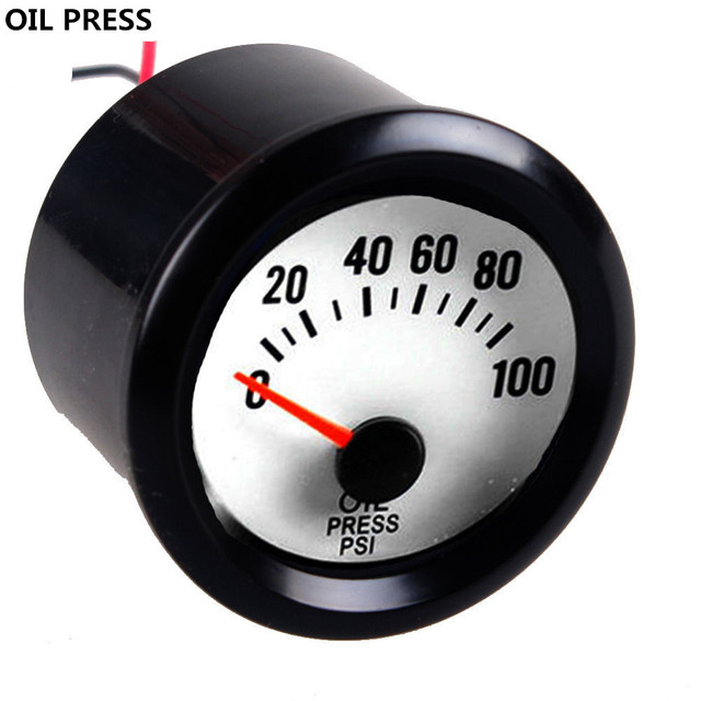 """EE suporte 2 """"LED Azul Relógio Automóvel Carro Preto Shell Branco Dial Pointer Medidor De Pressão De Óleo 52mm XY01"""