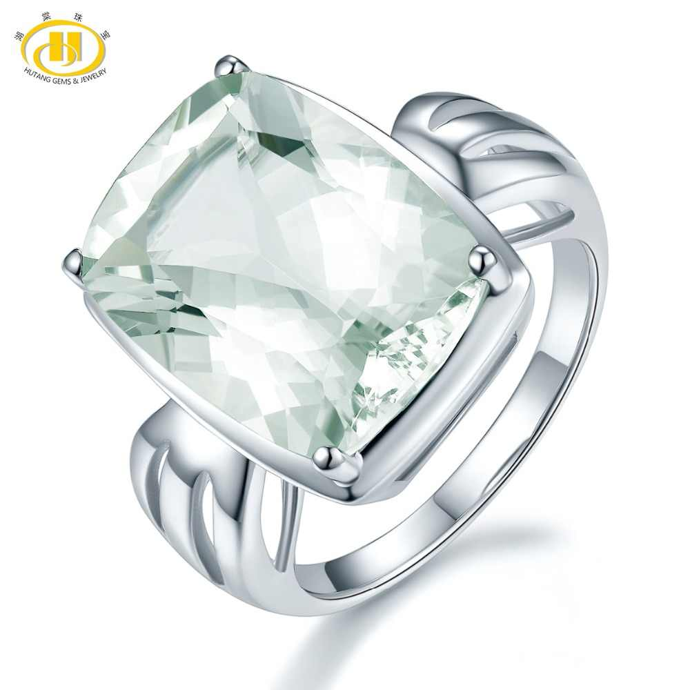 Hutang Engagement Rings 10.09 ct Green Amethyst 925 Sterling Silver Bowknot Natural Gemstone Fine Jewelry for Women's Best Gift
