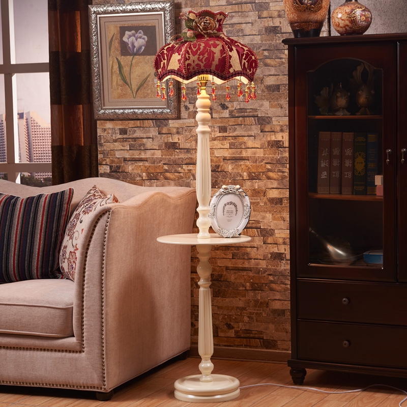 American Cloth Art Floor Lamp Room Bedroom Bedside Wood Floor Light Wedding Standing Lamp Villa Hotel Decorative led Floor Lamps french garden vertical floor lamp modern ceramic crystal lamp hotel room bedroom floor lamps dining lamp simple bedside lights