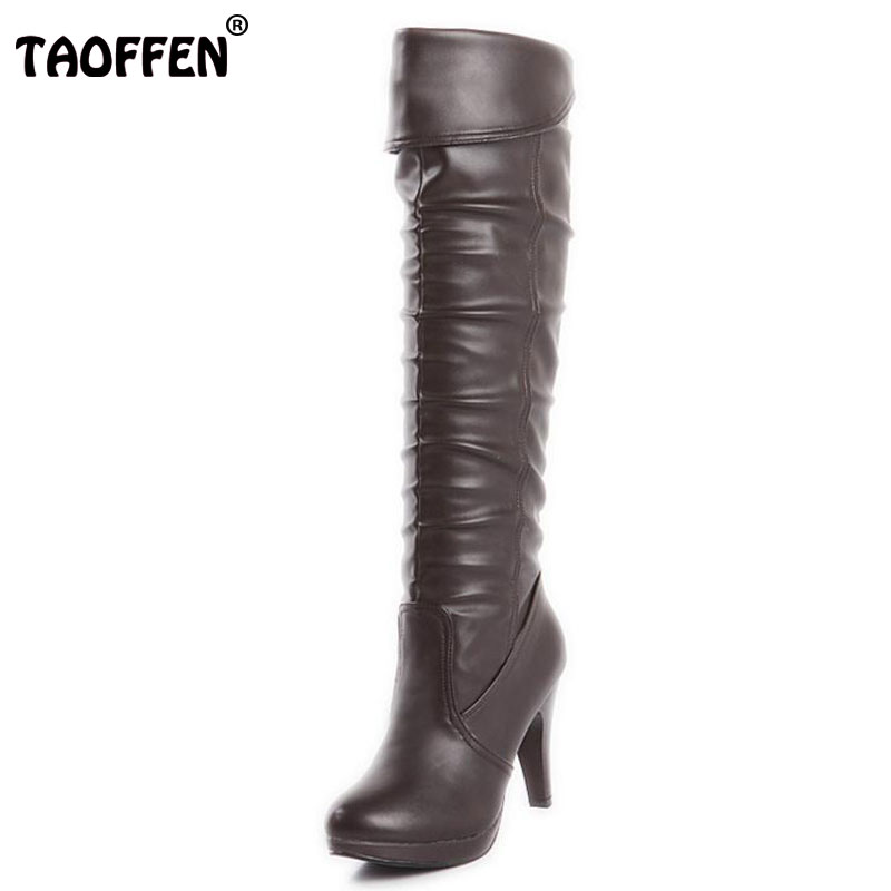 TAOFFEN size 32-48 women high heel over knee boots ladies fashion long snow boot warm winter botas heels footwear shoes P1888 coolcept size 30 47 women square high heel over knee boots snow long boot warm winter brand botas footwear heels shoes p20222