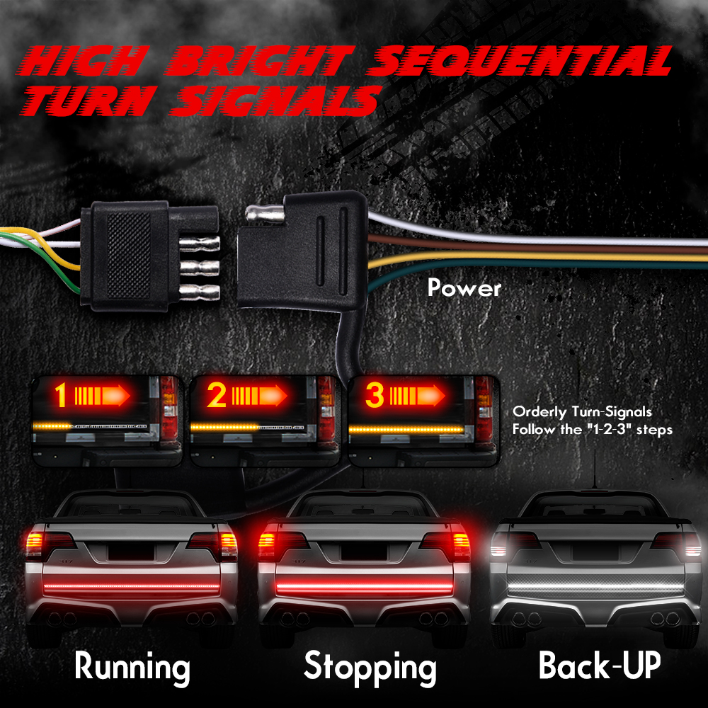 "Image 2 - MICTUNING Upgraded 60"" Triple Row Car LED Tailgate Strip w/ Amber Strobe Turn Signals Red Brake Running Lamp White Reverse Light-in Signal Lamp from Automobiles & Motorcycles"