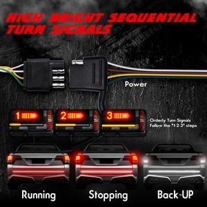 "Image 2 - MICTUNING tira LED trasera para puerta de coche, Triple fila, 60 "", intermitente estroboscópico ámbar, lámpara de freno rojo, luz de marcha atrás blanca"