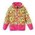 Envío Gratis Invierno de La Muchacha Abajo Cabritos de la Chaqueta Outwear Impreso Popular Ruso Estilo Pato Patchwork Alta calidad