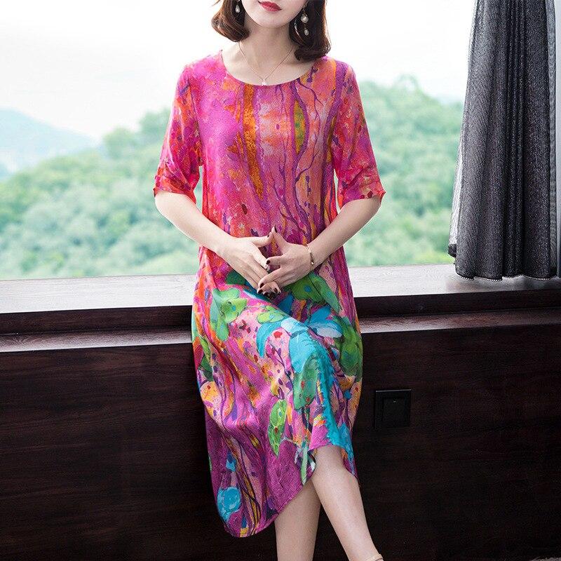 Silk Print Dress 2019 Spring New Fashion Loose Short Sleeve Summer Dress Large Size M-3XL High Quality Elegant Vestidos