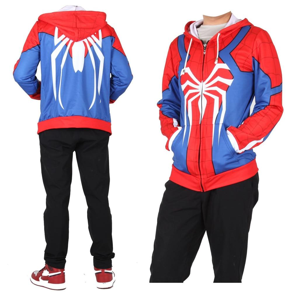 Adult Kids Insomniac Games Spiderman Superhero Cosplay Sweatshirt Hoodie Spider man Jacket Coat