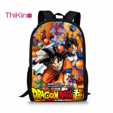 Thikin Anime 3pcs Set School Bags Dragon Ball Goku Vegeta Backpacks for Boys Bookbag Cartoon Kids Daypack