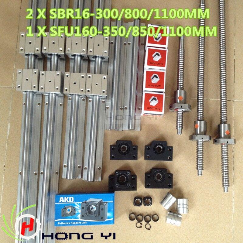 2 X SBR16 300/800/1100MM Linear Guides sets + 3 SFU1605 ball screw+3 BK12 BF12 +3 couplers 6sets sbr16 300 900 1100mm linear rails 3 sets 1605 ball screws 3 sets bkbf12 3pcs 6 35x10mm coupler