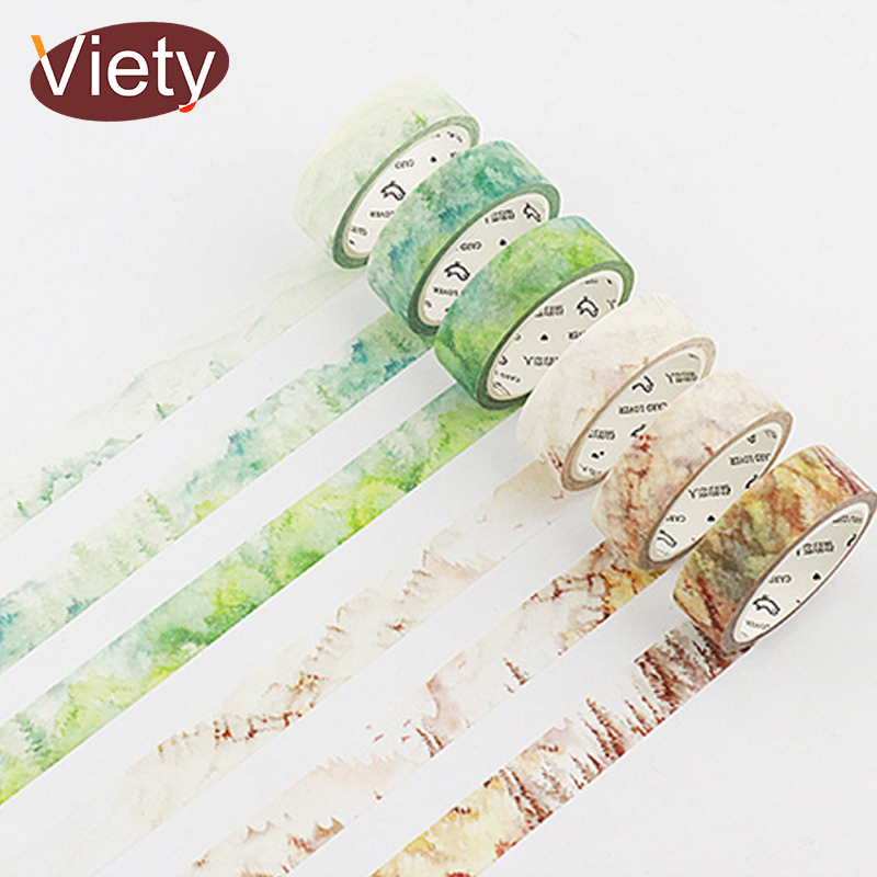 1.5cm*7m Season Landscape Natural Plant Washi Tape DIY Decorative Scrapbooking Sticker Planner Masking Adhesive Tape Label