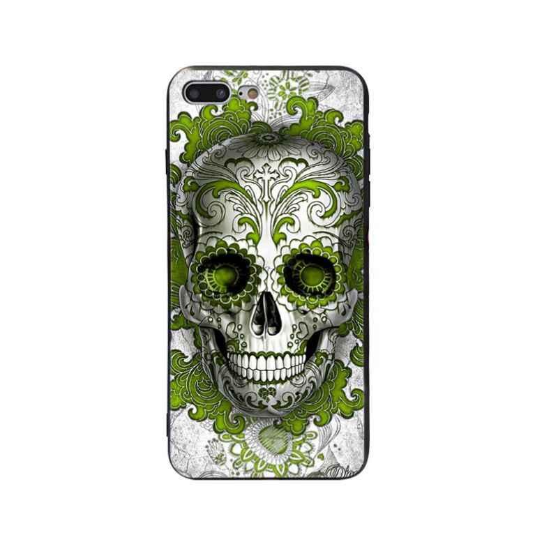 Yinuoda פרחוני סוכר גולגולת רך סיליקון כיסוי מקרה עבור iPhone X XS XR XSMax 5 5S SE 8 8 בתוספת 7 7 בתוספת 6 s 6 sPlus