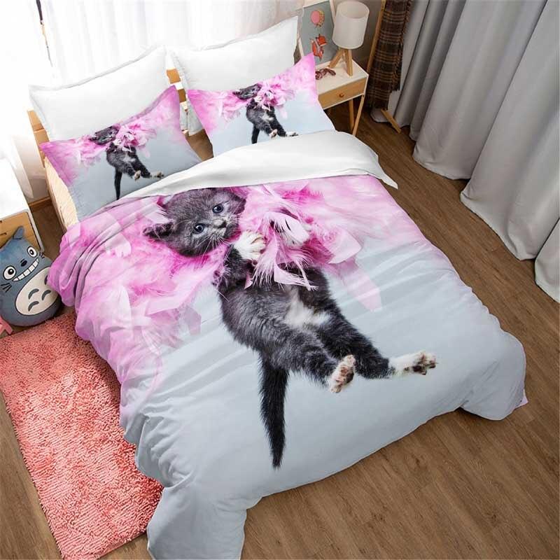 Cat Cute 3d Bedding Set Duvet Covers Pillowcases Children Room Decor Comforter Bedding Sets Bedclothes Bed Linen Bed Set