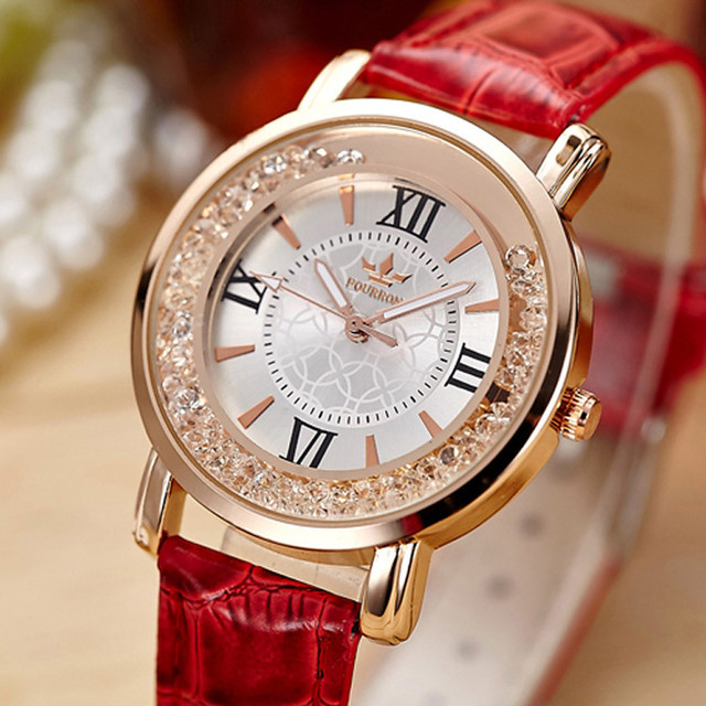 Ladies Fashion Quartz Watch Women Rhinestone Leather Casual Dress Women's Watch
