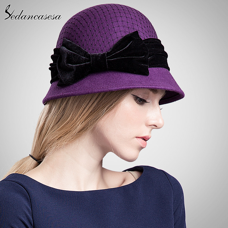 93d34f9bede ... Sedancasesa Women s cloche hat fashion Autumn Winter keep warm cute  bowknot wool felt bucket hats for ...