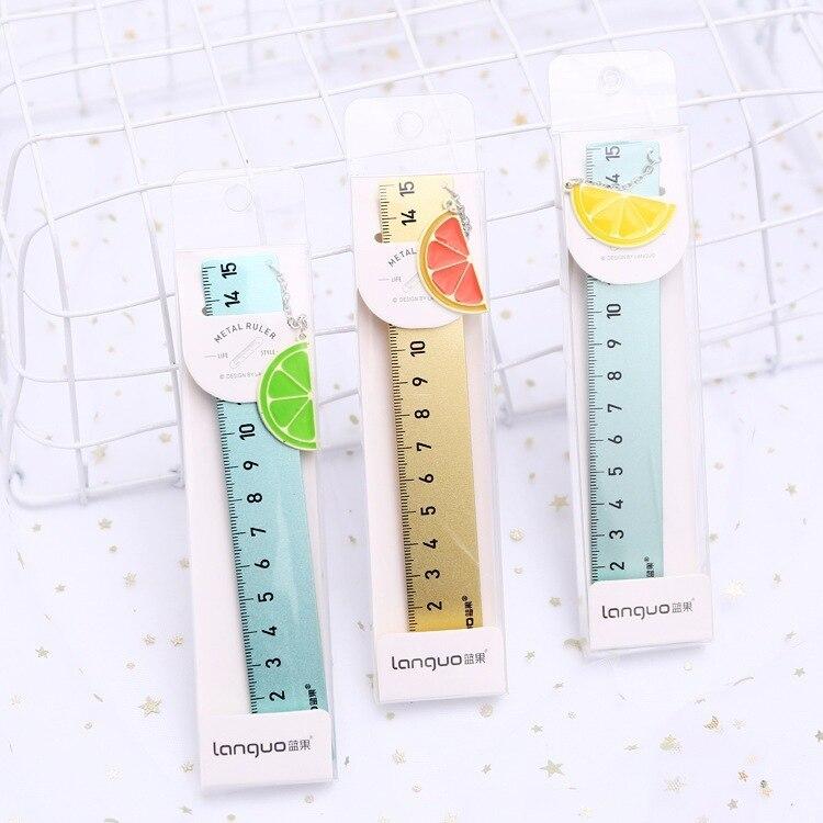 15 Pcs/lot 15 Cm Fresh Lemon Pendent Ruler Measuring Straight Ruler Tool Promotional Gift Stationery