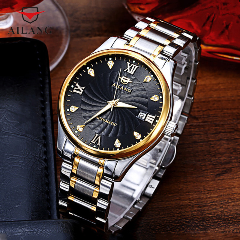 AILANG Brand Business Watch Men Luminous Waterproof Multifunction Watches Stainless Steel Automatic Mechanical Wristwatch A031 ailang men mechanical watch luxury brand waterproof automatic wristwatches men s stainless steel mechanical wristwatch a088