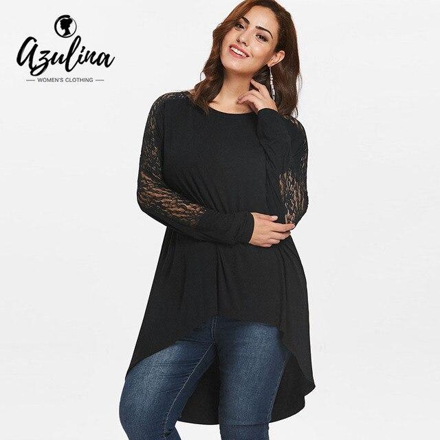 AZULINA Plus tamaño encaje alta baja y camiseta mujer Otoño Invierno cuello redondo de manga larga Camiseta Casual camisetas 2018 señoras Tops ropa de la camiseta