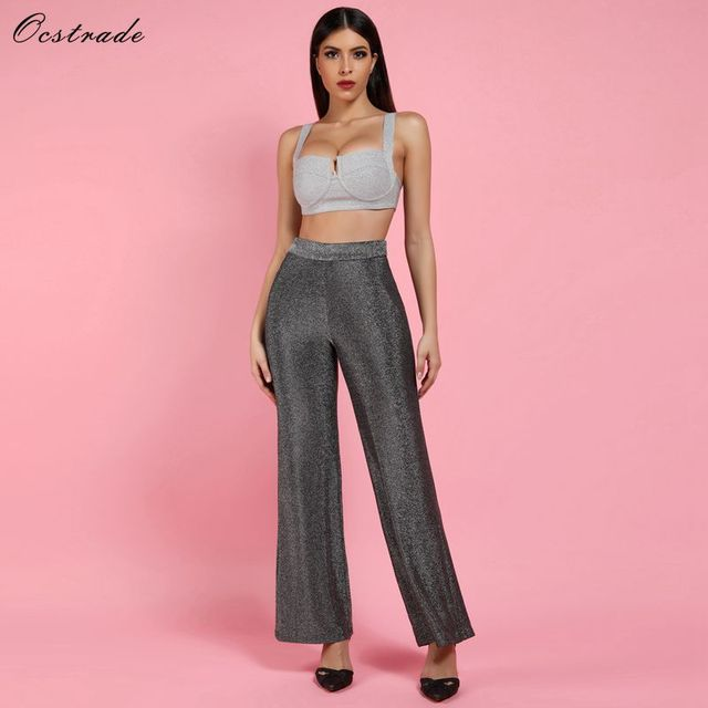 4492f346df3 Ocstrade Womens 2 Piece Sets 2018 New Sexy Silver Sparkly Bralette and Wide  Leg Trousers Women Two Piece Set Top and Pants