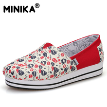 Minika Platform Canvas Shoes Woman Comfort Casual Slip On Flats Breathable Loafers Shoes High Quality Print Flower Pattern Shoes