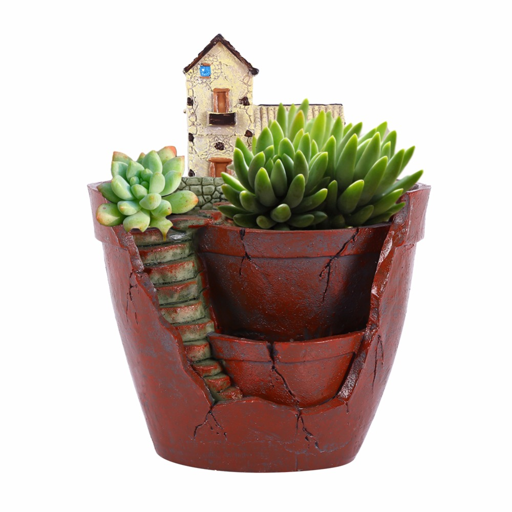 W Resin Flower Pot For Succulent Plants Flowerpot Micro