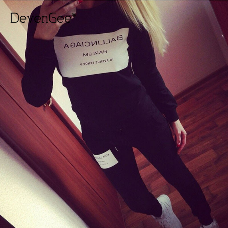 DevenGee New 2018 Autumn Pullover For Women Sweat Suit Set Long Sleeve Letter Tracksuits Female Hoodies Sweatshirts 2 Piece Sets