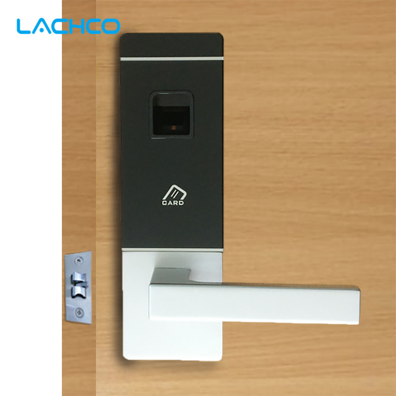 LACHCO Biometric Door Lock Fingerprint, 4 Cards, 2 Keys Electronic Intelligent Lock Keyless Smart Entry  L16091BS