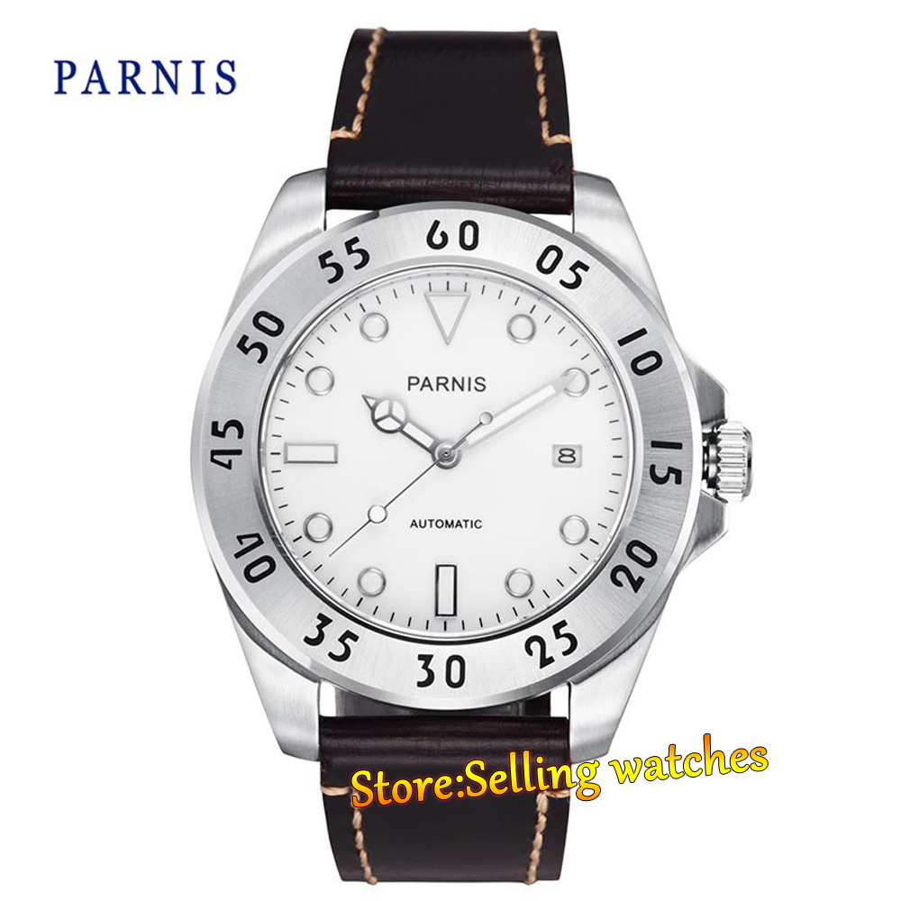 Parnis mechanical Steel case Sapphire White Dial Automatic Mens 43mm Watch цена