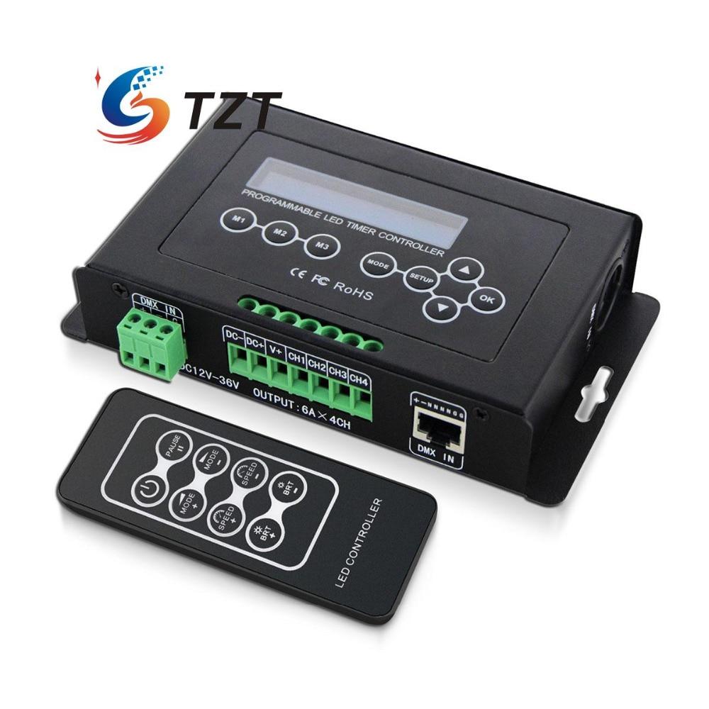 Professional programmable DMX512 LED timer DC12V 36V RGB or RGBW light controller dmx512 digital display 24ch dmx address controller dc5v 24v each ch max 3a 8 groups rgb controller