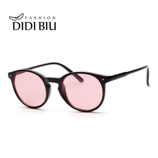 DIDI Vintage lunettes de Soleil Rondes Femmes Hommes Marque Rose  Transparent Revêtement Miroir Lunettes Ultra- 302cf8db1e5b