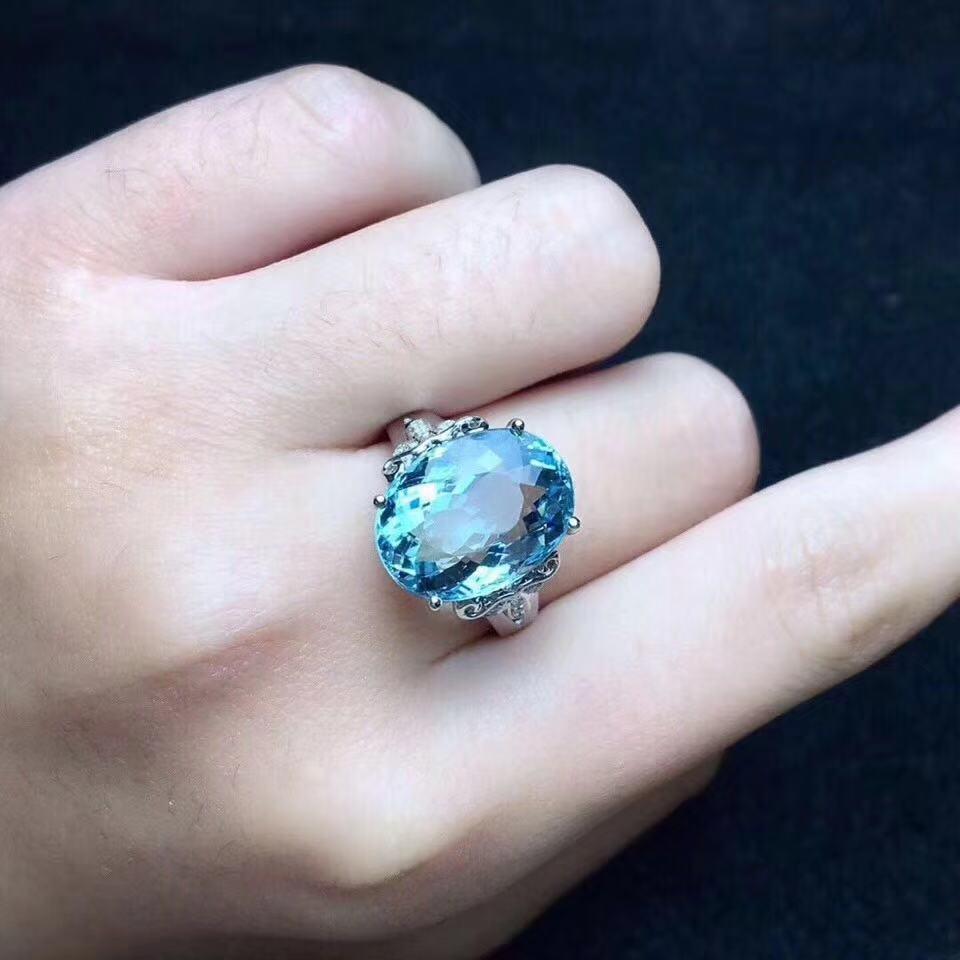 Big gemstone Ring Oval cut 13 18mm Blue topaz silver gemstone Ring for pary eye s