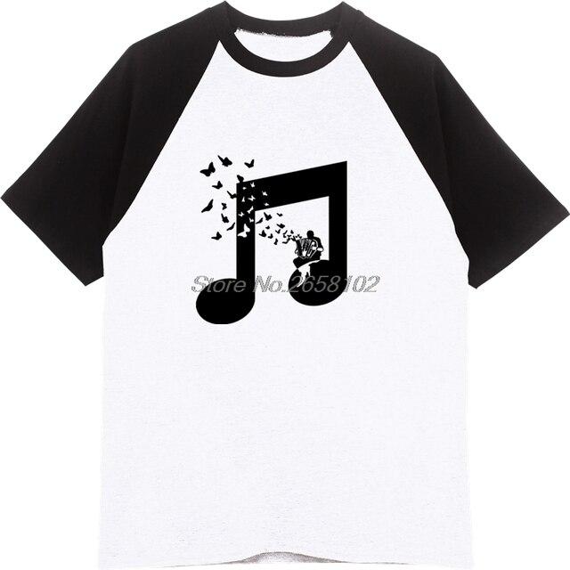 Accordion Butterfly T Shirts Men Beautiful Melody Flat Art College Music T  Shirt Team Club Cotton Raglan Sleeve Tshirt Harajuku-in T-Shirts from Men's