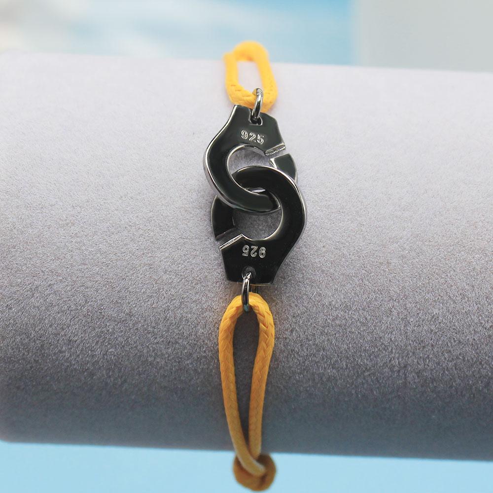 Мужские ювелирные изделия из стерлингового серебра 925 браслет наручники для женщин Bijoux с регулируемой веревкой 925 Серебряный кулон браслет для мужчин - Окраска металла: YH