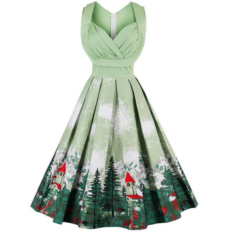 New Style Christmas Tree Print Dress Woman Cut Out V-Neck A Line Autumn Sleeveless Party Dresses Femme Plus Size 3XL 4X Vestidos