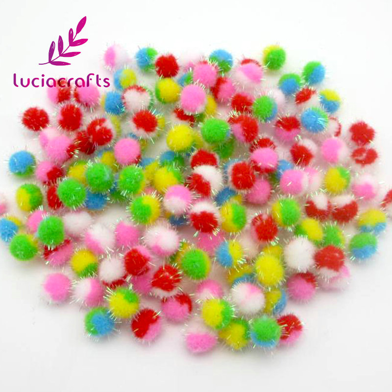 Lucia Crafts 100pcs/lot 15mm Multi Color Pompom Fur Craft DIY Soft Pom Poms Wedding Decoration Accessories 22010009(15HS100)