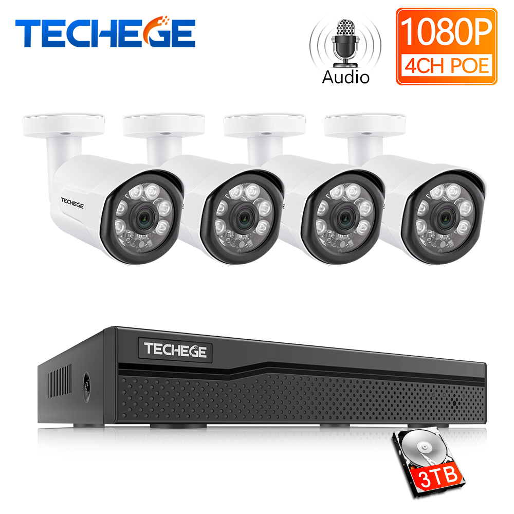 4CH 1080P Wireless NVR 2.0MP Wifi IP Camera HD Home Security CCTV System 8mm len
