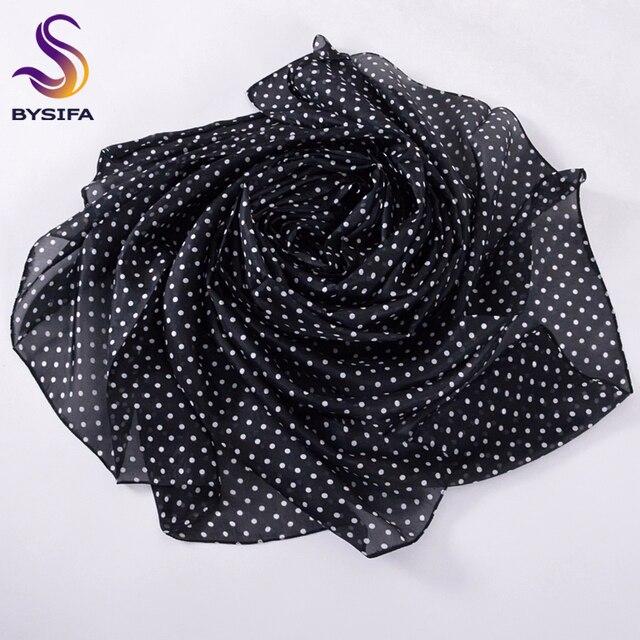 [BYSIFA] noir blanc Dot soie écharpe châle pour dames haut tendance Grade Pure soie longues écharpes enveloppes Extanded hiver dames Cape