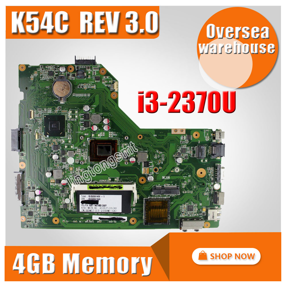 For ASUS X54C motherboard Hm65 with i3-2370U motherboard K54C REV 3.0 MAINBOARD 100% tested original notebook motherboard x54c k54c for asus rev 2 1 system pc mainboard with ram on board
