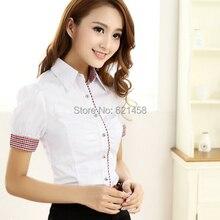 Женская новейшая элегантная Рабочая одежда OL, блузы с коротким рукавом, Рубашки, Топы, модные хлопковые базовые рубашки с S-2XL размера